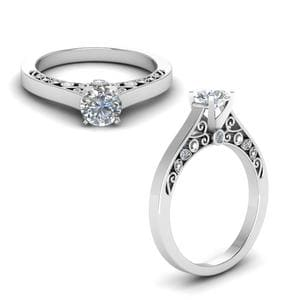 Cathedral Filigree Diamond Engagement Ring In 18K White Gold