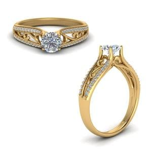 Cathedral Filigree Diamond Engagement Ring In 18K Yellow Gold