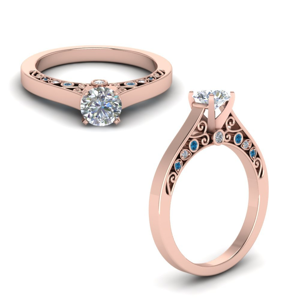 Cathedral Filigree Diamond Engagement Ring With Blue Topaz In 14K Rose Gold