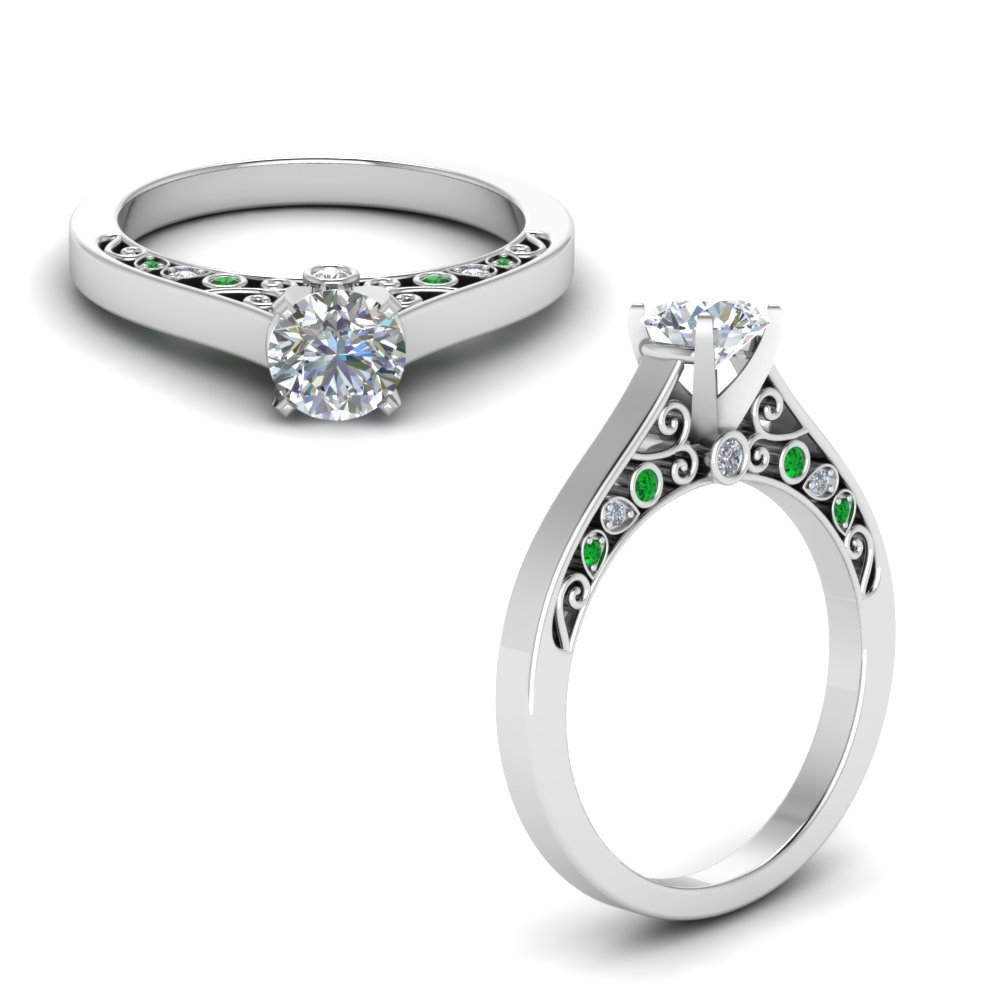 Cathedral Filigree Diamond Engagement Ring With Emerald In 18K White Gold