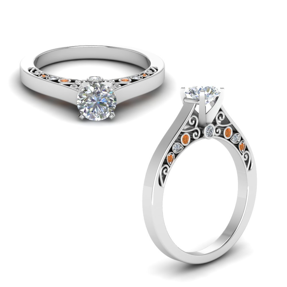 Cathedral Filigree Diamond Engagement Ring With Orange Sapphire In 14K White Gold