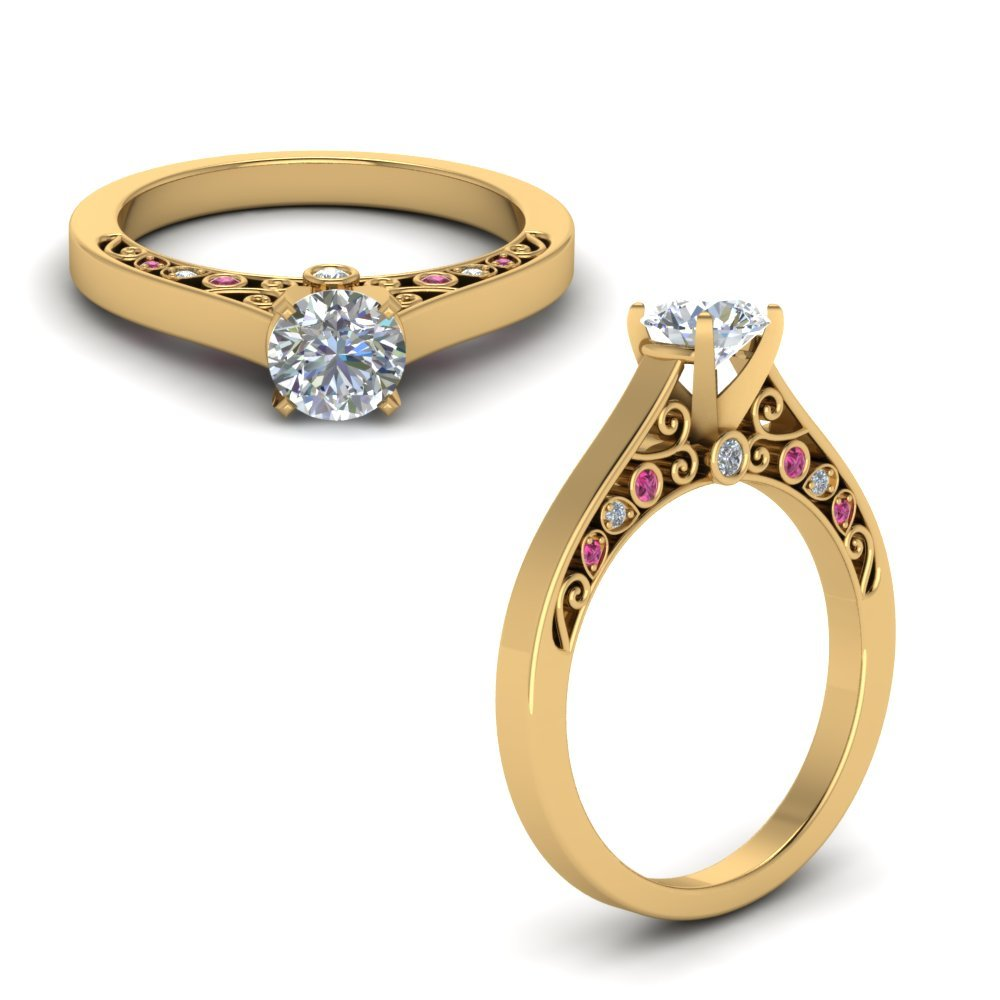Cathedral Filigree Diamond Engagement Ring With Pink Sapphire In 14K Yellow Gold