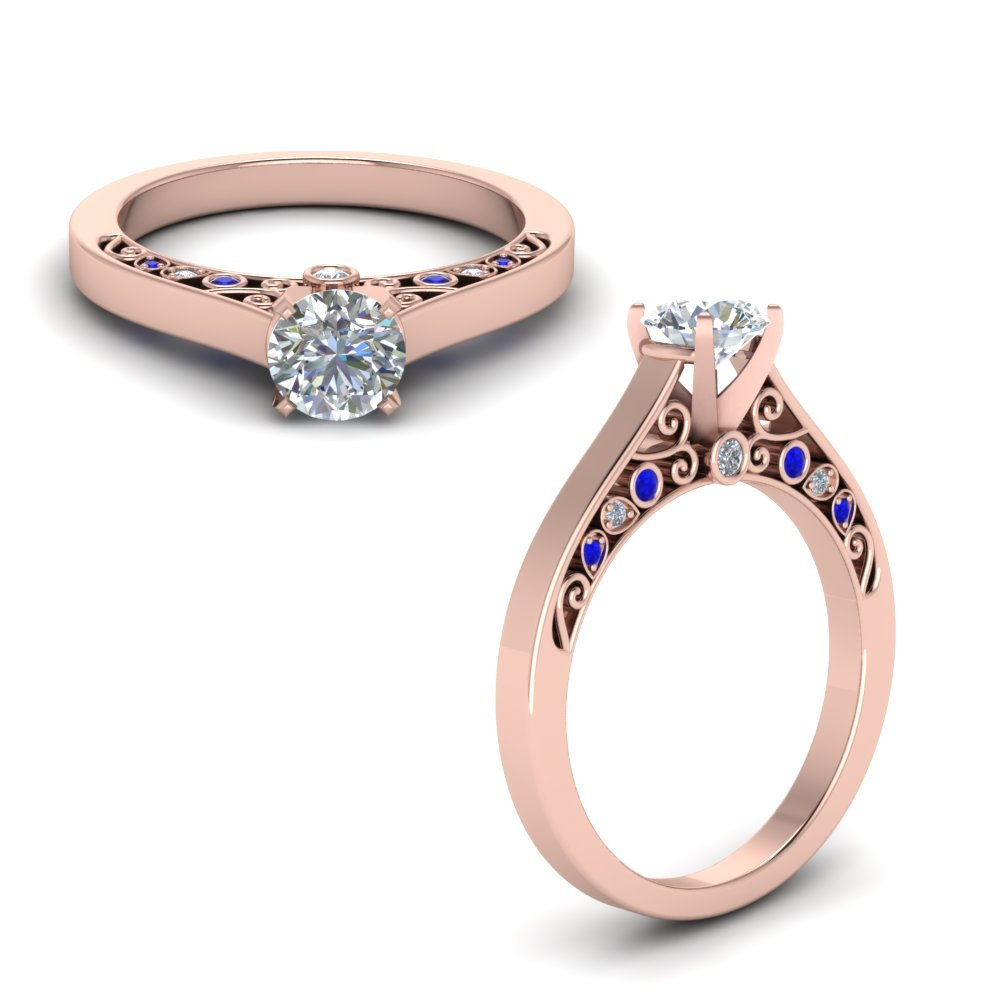 Cathedral Filigree Diamond Engagement Ring With Sapphire In 14K Rose Gold