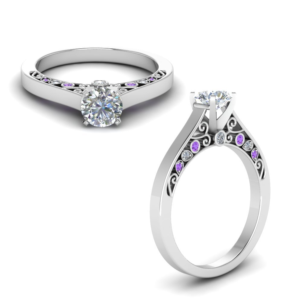 Cathedral Filigree Diamond Engagement Ring With Violet Topaz In 950 Platinum