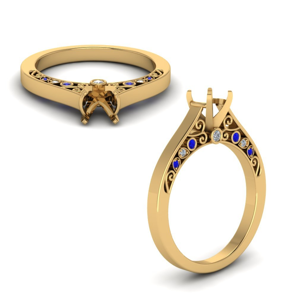 Cathedral Filigree Diamond Engagement Ring With Sapphire In 14K Yellow Gold