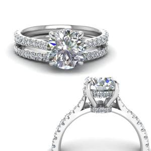 Cathedral Hidden Halo Ring Set