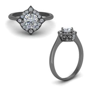 Cathedral Vintage Halo Engagement Ring