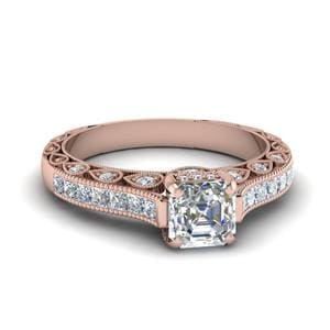 Cathedral Vintage Style Asscher Diamond Engagement Ring In 14K Rose Gold