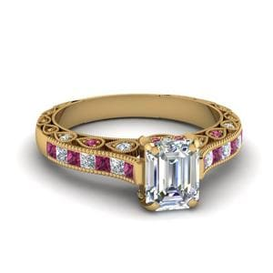 Channel Set Pink Sapphire Ring