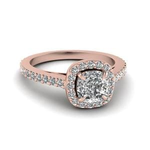 Cathredral French Prong Cushion Cut Diamond Vintage Halo Engagement Ring In 14K Rose Gold