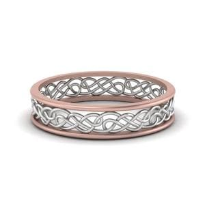 Celtic 2 Tone Wedding Band In 14K Rose Gold