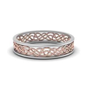 Celtic 2 Tone Wedding Band In 18K White Gold