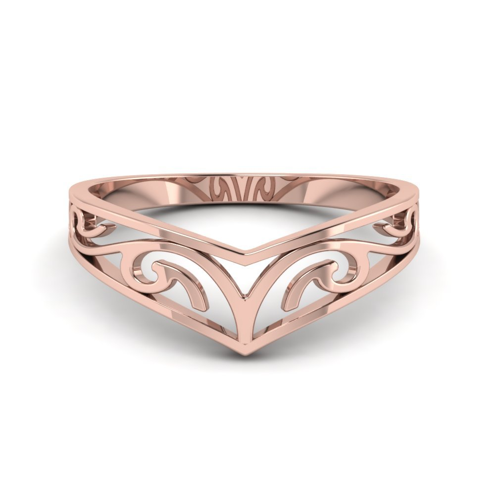14K Rose Gold Curved Wedding Band