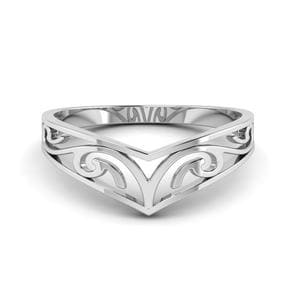 Celtic Curved Wedding Band Filigree In 14K White Gold
