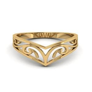 Celtic Curved Wedding Band Filigree In 14K Yellow Gold