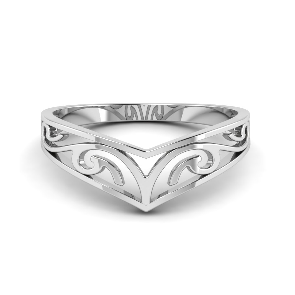 Celtic Curved Wedding Band Filigree In 18K White Gold
