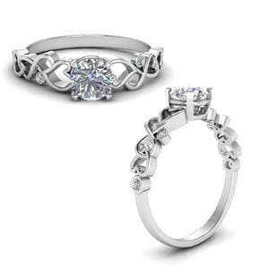 Intertwined Filigree Round Cut Diamond Engagement Ring In 14K White Gold