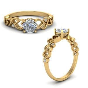 Intertwined Filigree Round Cut Diamond Engagement Ring In 14K Yellow Gold