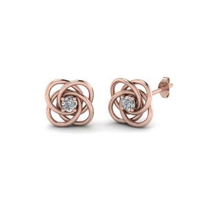 Celtic Knot Round Diamond Stud Earrings For Women In 14K Rose Gold