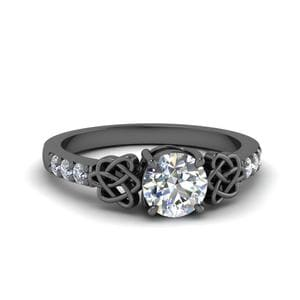 Celtic Round Diamond Ring In 14K Black Gold