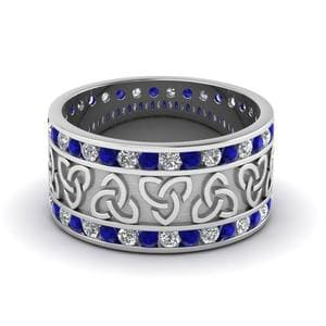 Sapphire Celtic Wedding Band