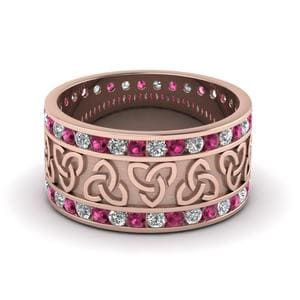 Pink Sapphire Wide Wedding Band