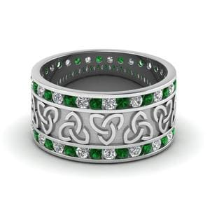 Celtic Design Emerald Wedding Band
