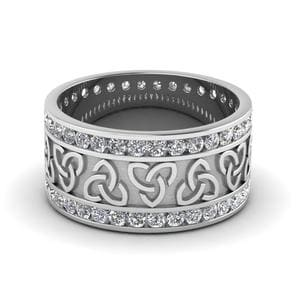 Celtic Knot Diamond Wedding Band In 14K White Gold