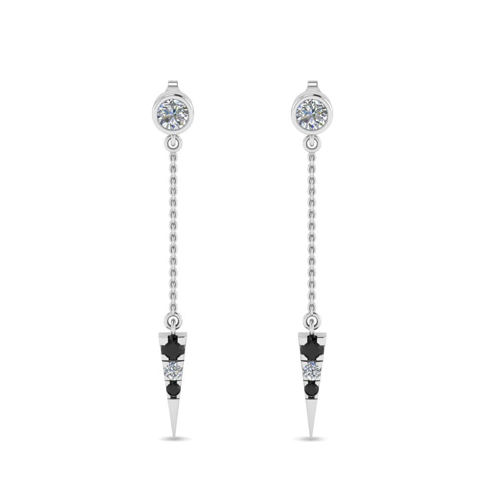 Drop Earrings With Black Diamond