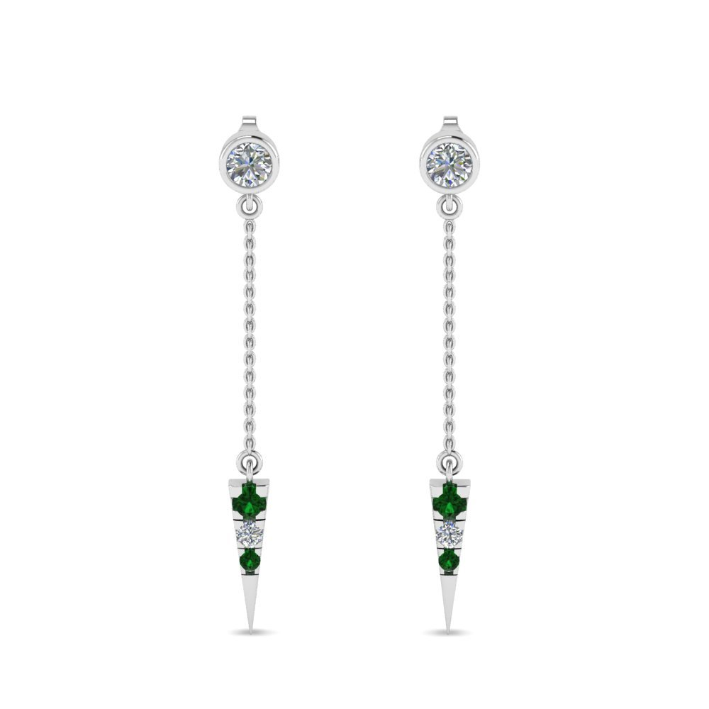 Emerald Drop Dangle Earrings