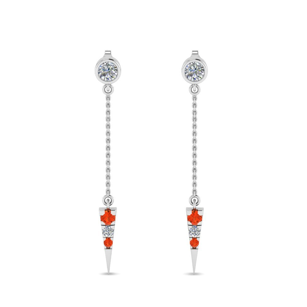 Orange Topaz Chain Drop Earrings