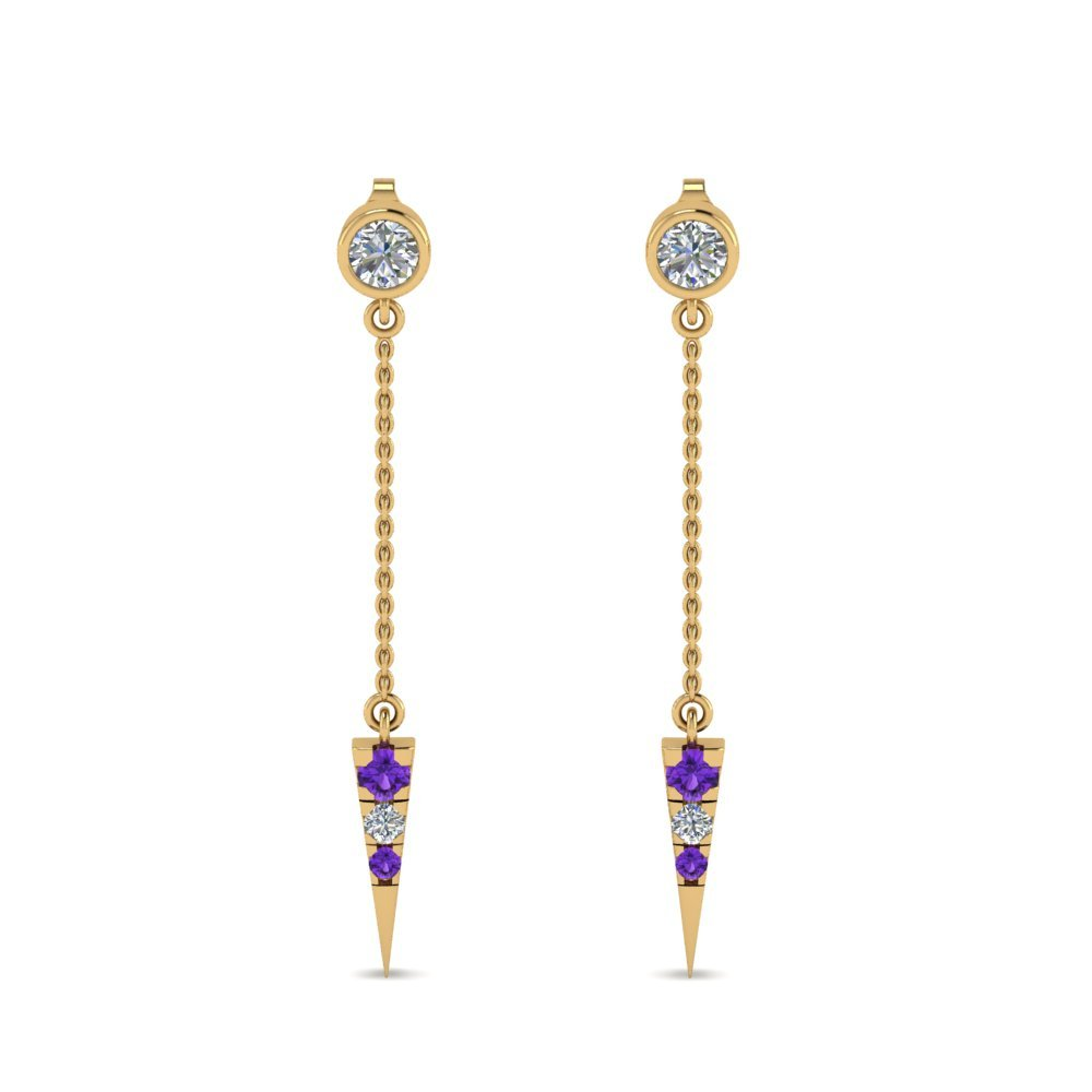 Drop Earrings With Purple Topaz