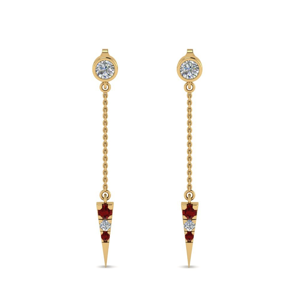 Drop Dangle Ruby Earrings