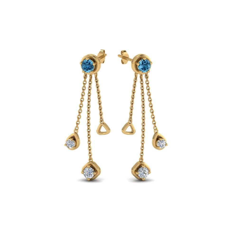 Drop Earrings With Blue Topaz