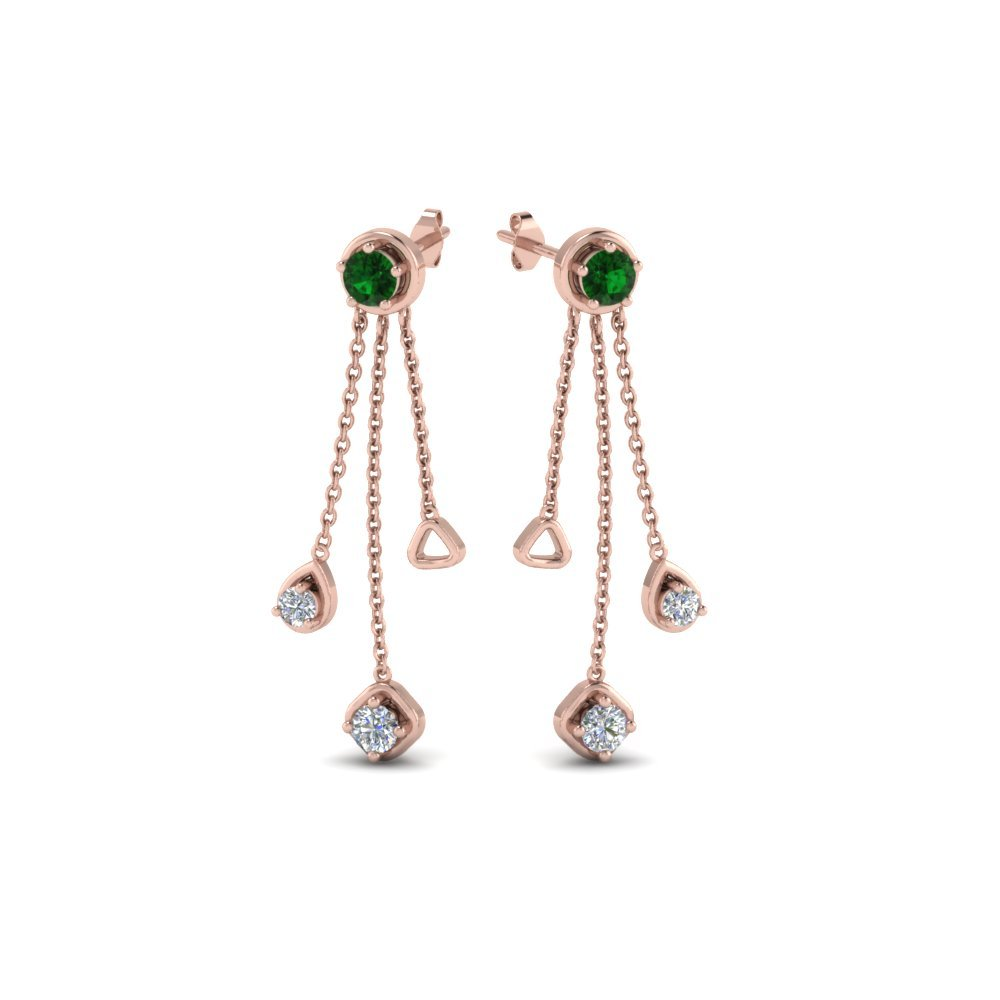 Emerald Chain Drop Earrings