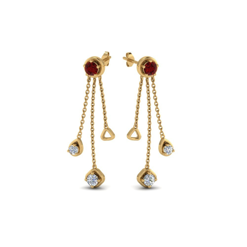 Drop Diamond Ruby Earrings
