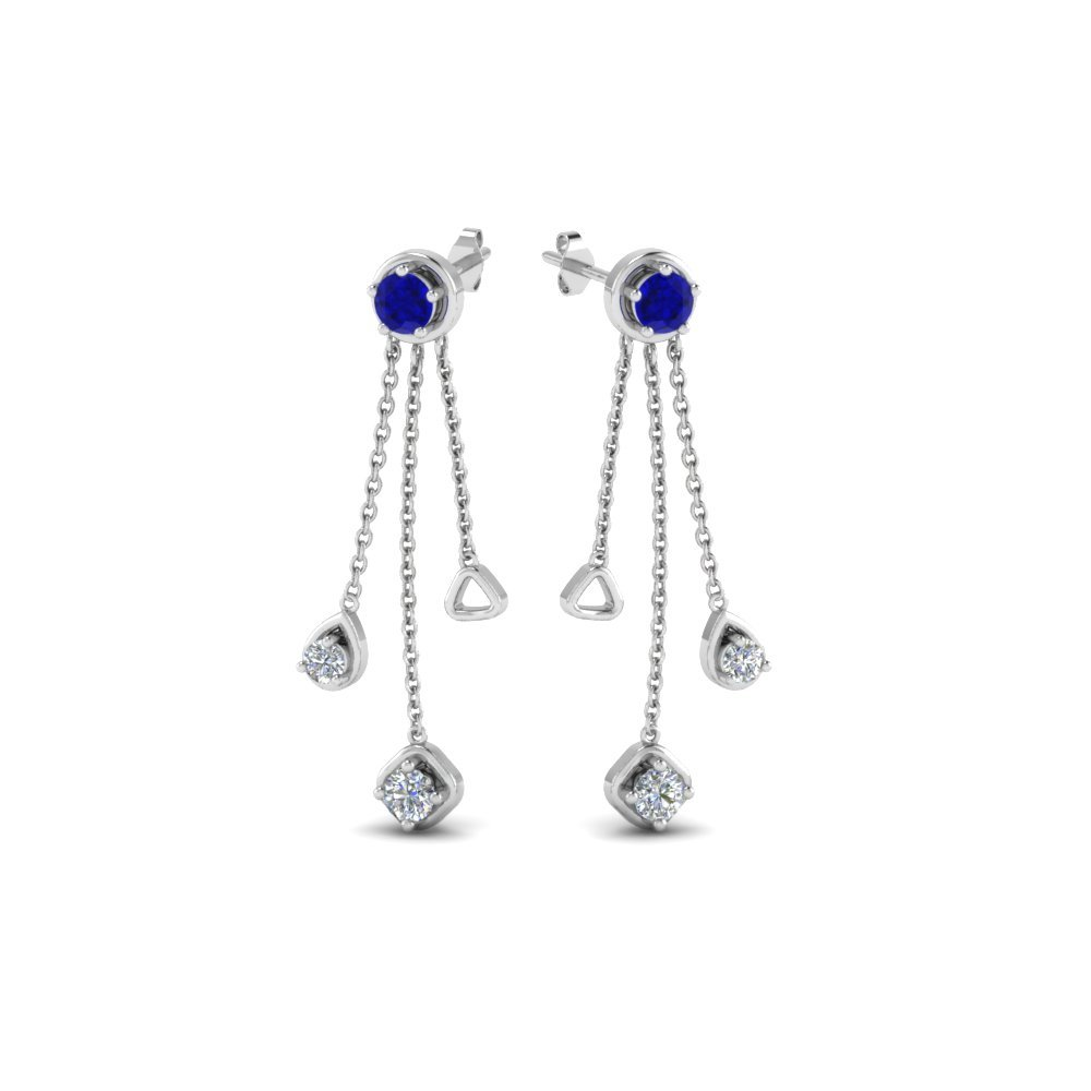Chain Drop Sapphire Earrings