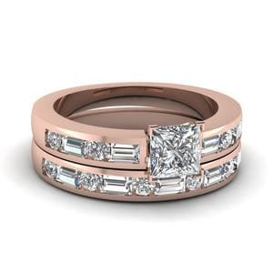 2 Ct. Diamond Princess Cut Engagement Ring Set With Baguette In 18K Rose Gold