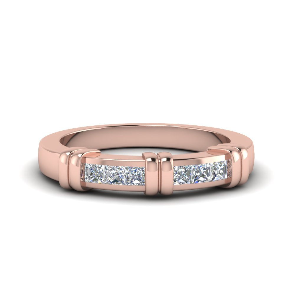 Channel Bar Princess Cut Wedding Band In 14K Rose Gold