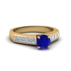 Channel Sapphire Stone Engagement Ring In 14K Yellow Gold