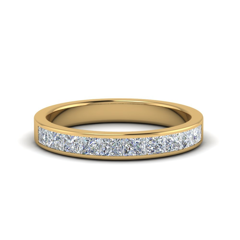 Channel Princess Cut Wedding Band 1 Carat
