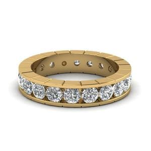 Channel Round Eternity Diamond Band In 14K Yellow Gold