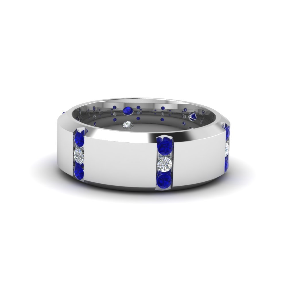 channel set 3 stone sapphire mens ring