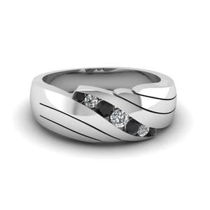 Platinum Black Diamond Mens Band