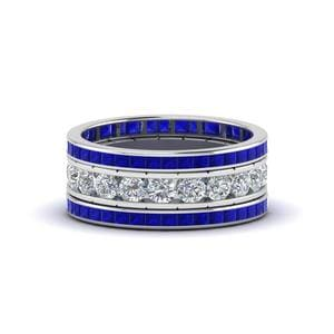 Channel Set sapphire eternity stack Band
