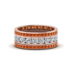 Orange Sapphire Stacking Band