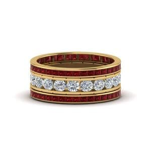 Stacked Wedding Ring With Ruby