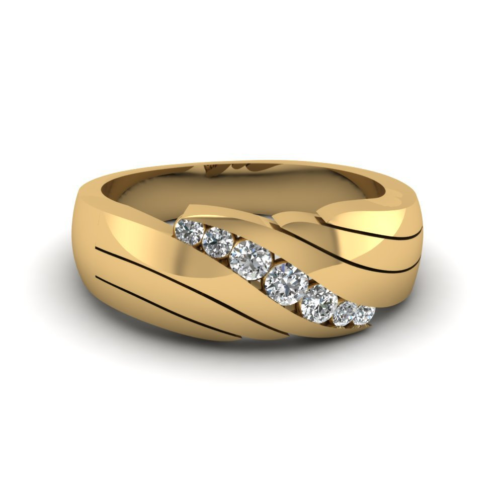 classic channel set mens diamond ring