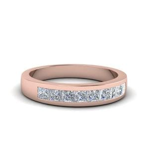 Channel Set Diamond Wedding Anniversary Band In 14K Rose Gold