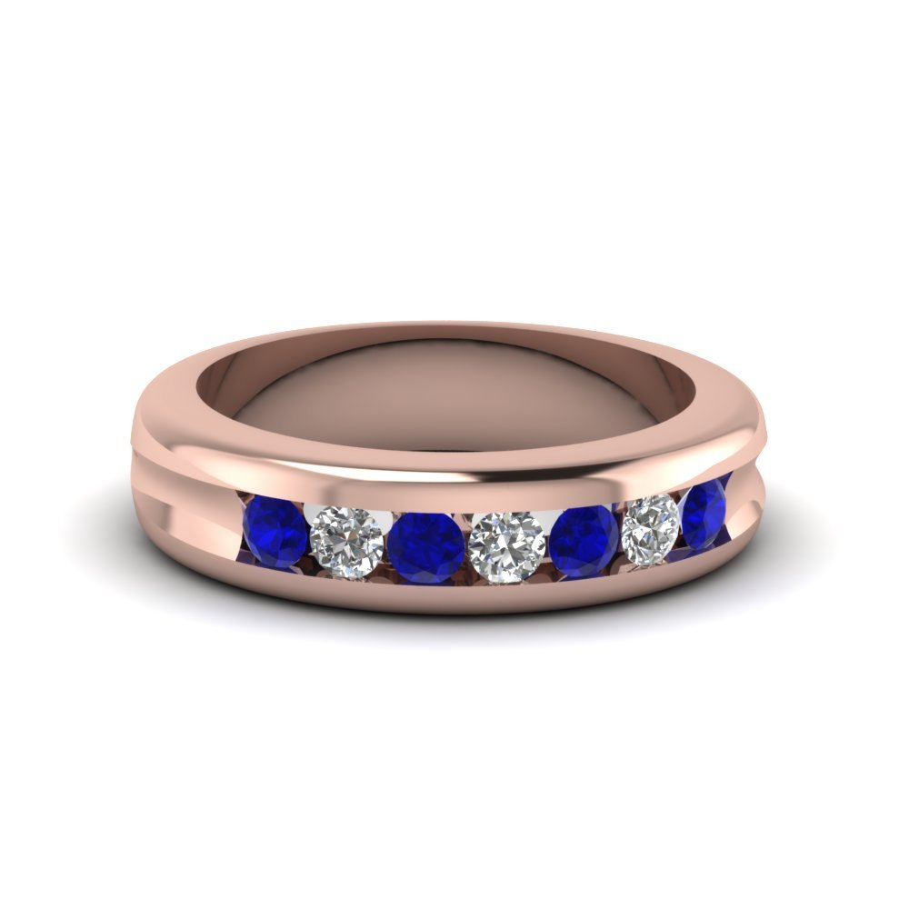Channel Set Diamond Wedding Band With Blue Sapphire In 14K Rose Gold